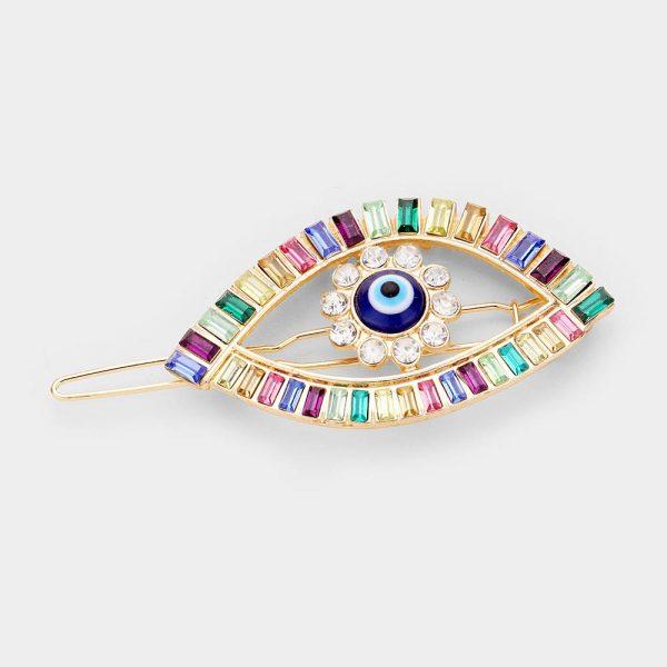 Multi Color Evil Eye Crystal Barette