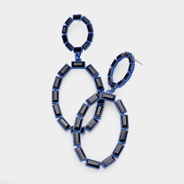 Oval Bagette Navy Crystal Drop Earring