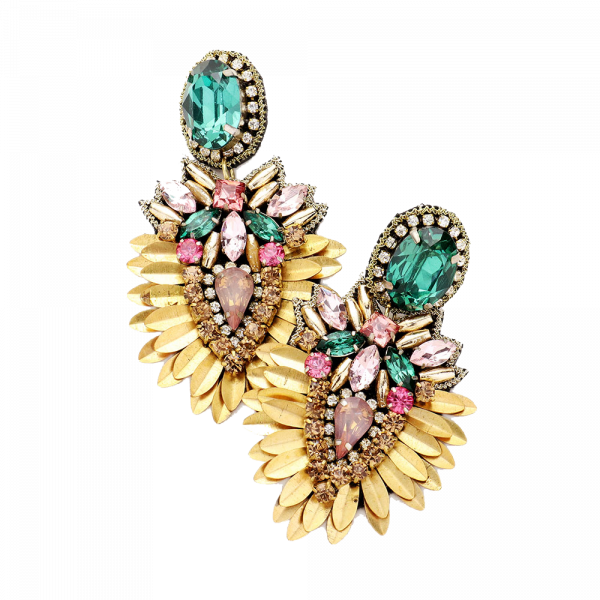 Sequin  Gold Multi Stone Couture Hand Made Cluster Earring
