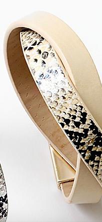 Leather Snake Print Wrap Bracelet