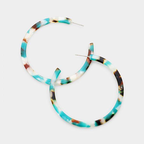 Teal Marble Resin Hoop Earrings