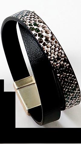 Black Python Print Wrap Bracelet
