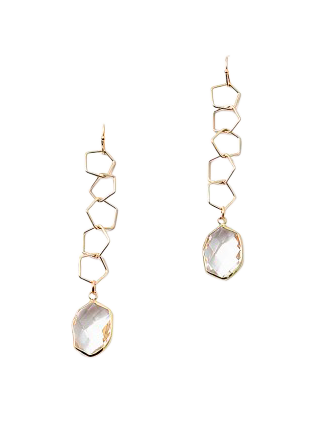 Chain Link Lucite Crystal Drop Earring